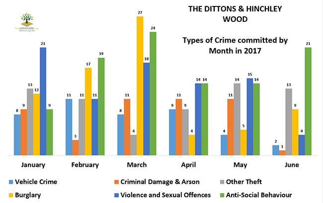 dittons hinchley wood type of crime by monthx650 - Has Local Crime Increased Since The Streetlights In Elmbridge Went Out? We Have The Answer!