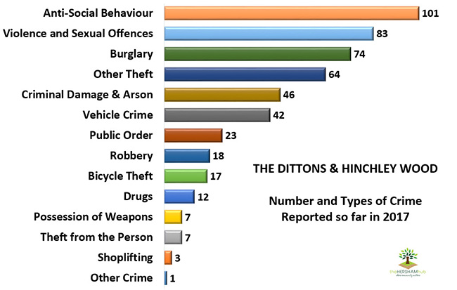dittons hinchley wood type of crimex650 1 - Has Local Crime Increased Since The Streetlights In Elmbridge Went Out? We Have The Answer!
