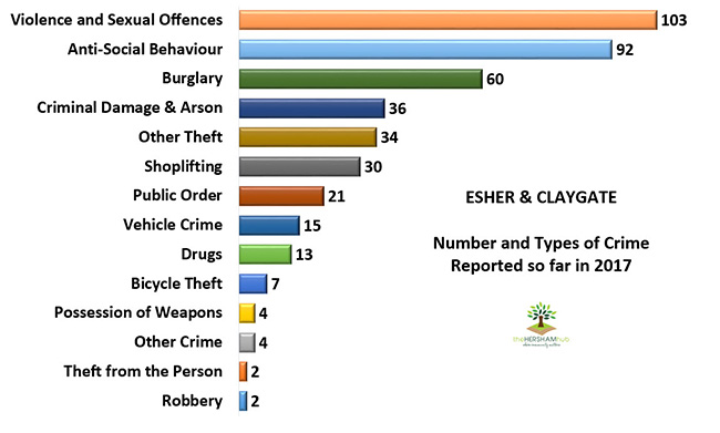 esher claygate type of crime 2017x650 1 - Has Local Crime Increased Since The Streetlights In Elmbridge Went Out? We Have The Answer!