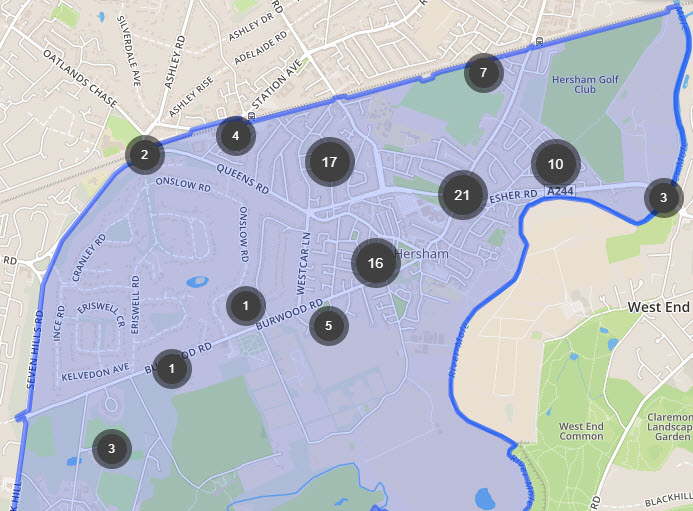hersham crime map june - Has Local Crime Increased Since The Streetlights In Elmbridge Went Out? We Have The Answer!