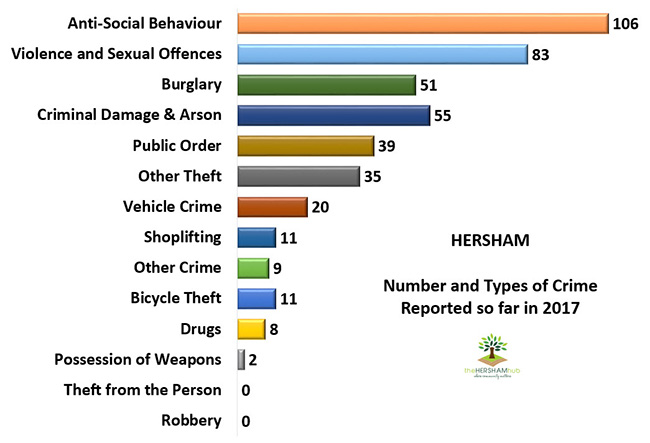 hersham type of crime 2017x650 1 - Has Local Crime Increased Since The Streetlights In Elmbridge Went Out? We Have The Answer!