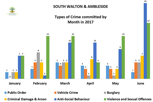 sth walton ambleside type of crime by monthx650 - Has Local Crime Increased Since The Streetlights In Elmbridge Went Out? We Have The Answer!
