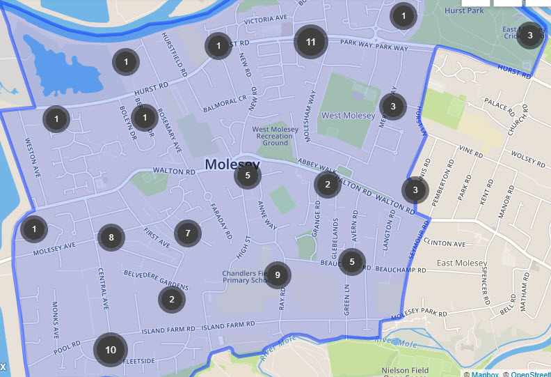 west molesey crime map - Has Local Crime Increased Since The Streetlights In Elmbridge Went Out? We Have The Answer!