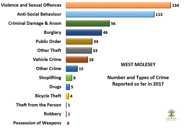 west molesey type of crime 2017x650 1 - Has Local Crime Increased Since The Streetlights In Elmbridge Went Out? We Have The Answer!