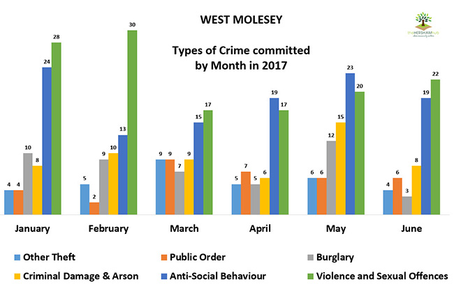west molesey type of crime by monthx650 - Has Local Crime Increased Since The Streetlights In Elmbridge Went Out? We Have The Answer!