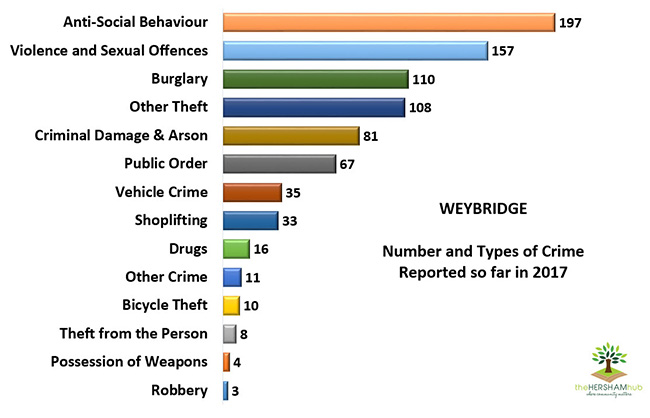 weybridge type of crime 2017 x650 - Has Local Crime Increased Since The Streetlights In Elmbridge Went Out? We Have The Answer!