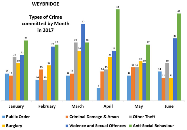 weybridge type of crime by monthx650 - Has Local Crime Increased Since The Streetlights In Elmbridge Went Out? We Have The Answer!
