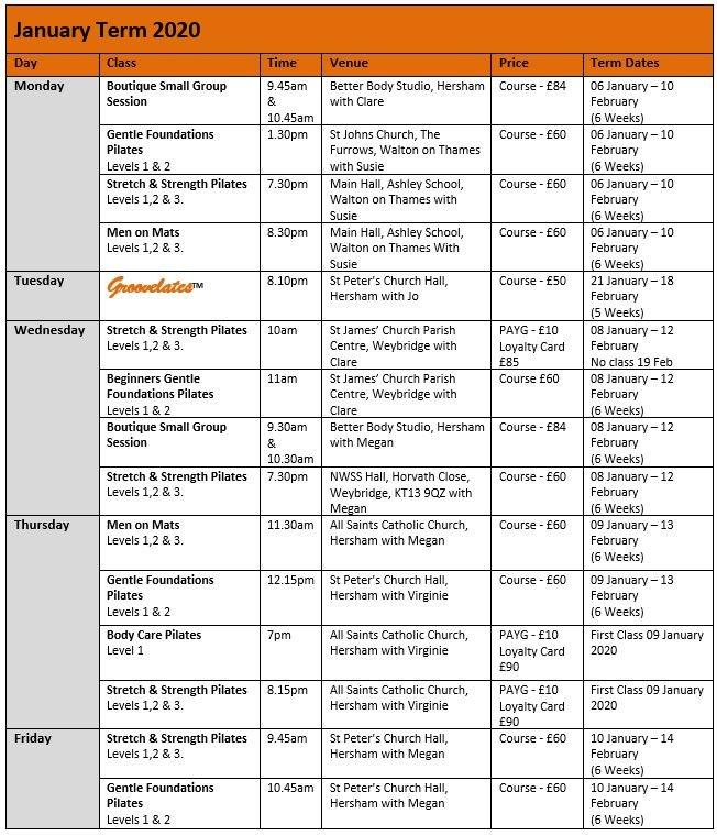 january pilates class schedule - Better Body Pilates - Hersham, Walton-on-Thames, Weybridge and Esher