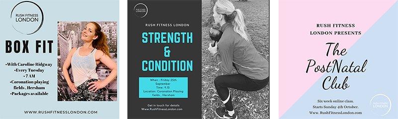 rush fitness classes banner - Rush Fitness London
